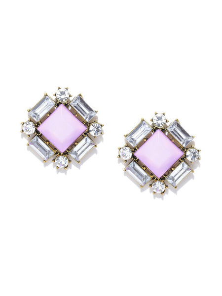 Lavender Square-cut Statement Earrings