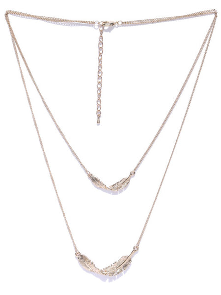 Cubic Zirconia Leaf Layered Necklace