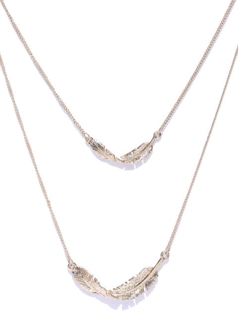 Cubic Zirconia Leaf Layered Necklace - ChicMela