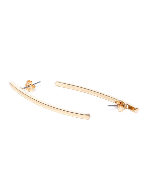 London-Linear 14k Rose Gold Plated Earrings - ChicMela