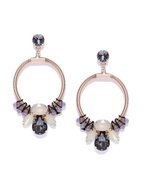 Laura Circular Black Earrings - ChicMela