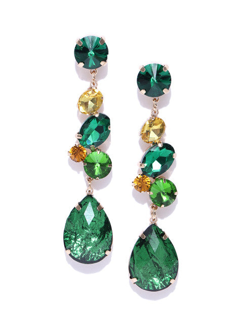 Luxe Teardrop Drops In Deep Green - ChicMela