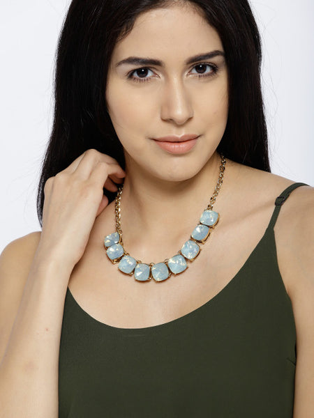 Semi-precious Luxe Opal Stone Necklace in Ocean Blue - ChicMela