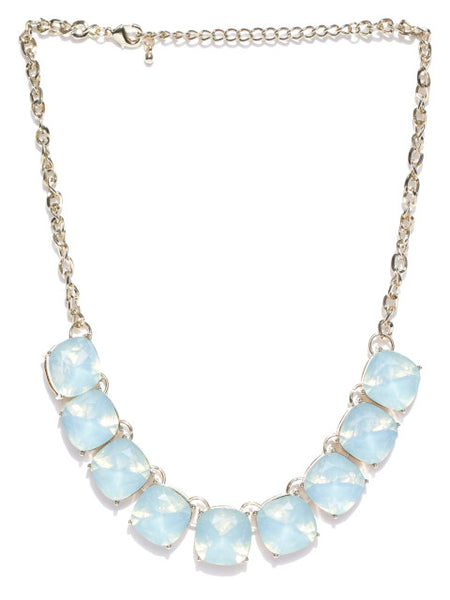 Semi-precious Luxe Opal Stone Necklace in Ocean Blue