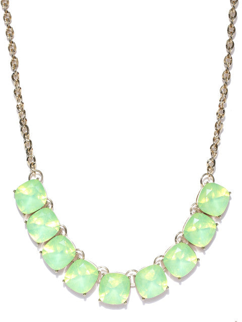 Semi-precious Luxe Opal Stone Necklace in Ocean Green - ChicMela