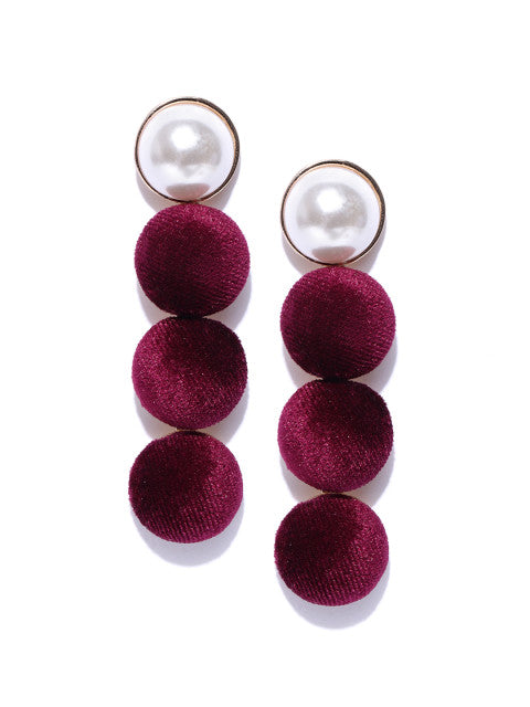 Pearl and Velvet Long Earrings-Maroon - ChicMela