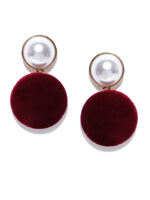Velvet and Pearl Maroon Drops - ChicMela