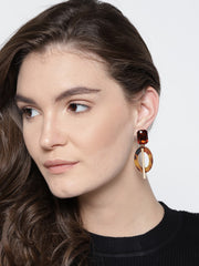 Luxe Mother of Pearl 18K Gold Plated Brown Earrings - ChicMela