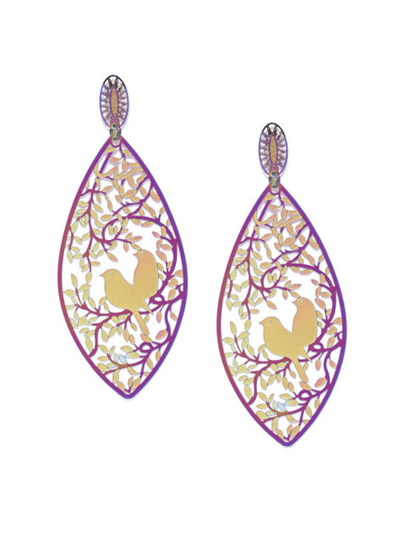 Love Birds in a Nest 3D Drop Earrings