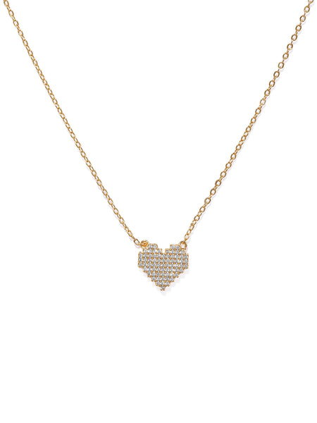 18k Plated Cubic Zirconia- Heart of Gold Pendant Necklace