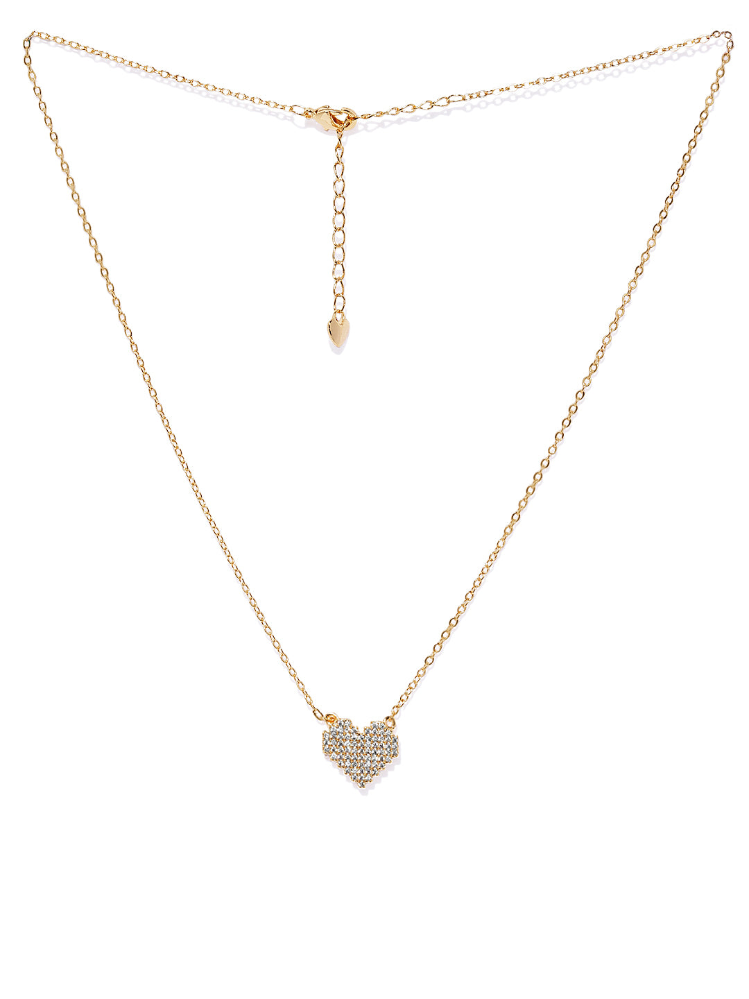 18k Plated Cubic Zirconia- Heart of Gold Pendant Necklace - ChicMela
