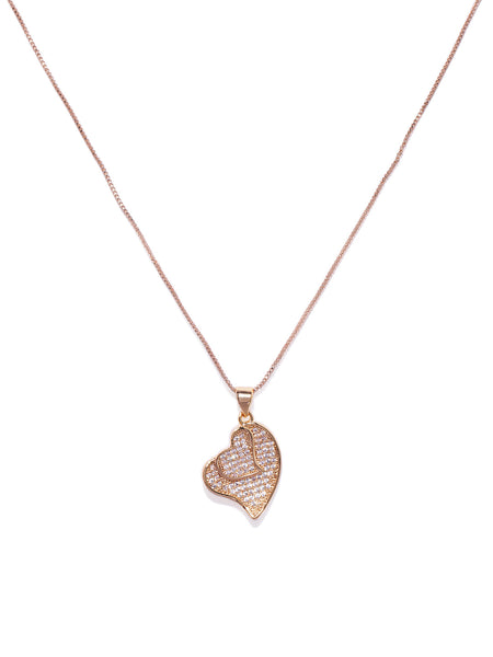 18k Cubic Zirconia Double Heart Pendant Gold Necklace