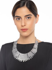 Silver Tribal Necklace - ChicMela