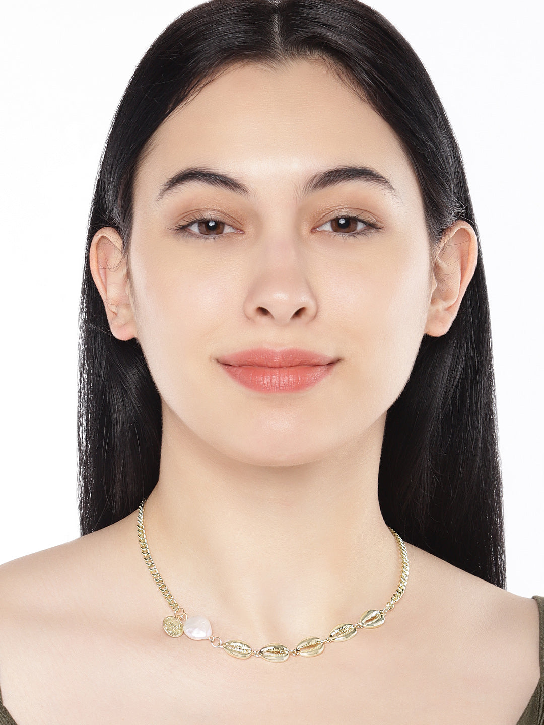 Gold Shell  Adjustable Choker Necklace - ChicMela