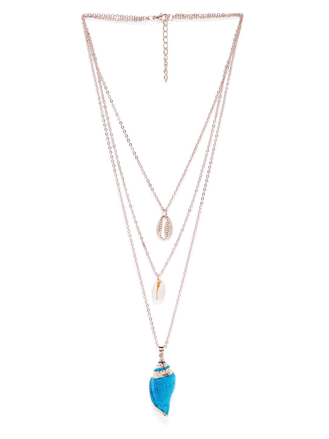 Blue Layered Shell Necklace - ChicMela