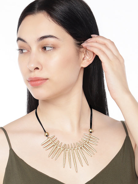 Gold statement tribal necklace