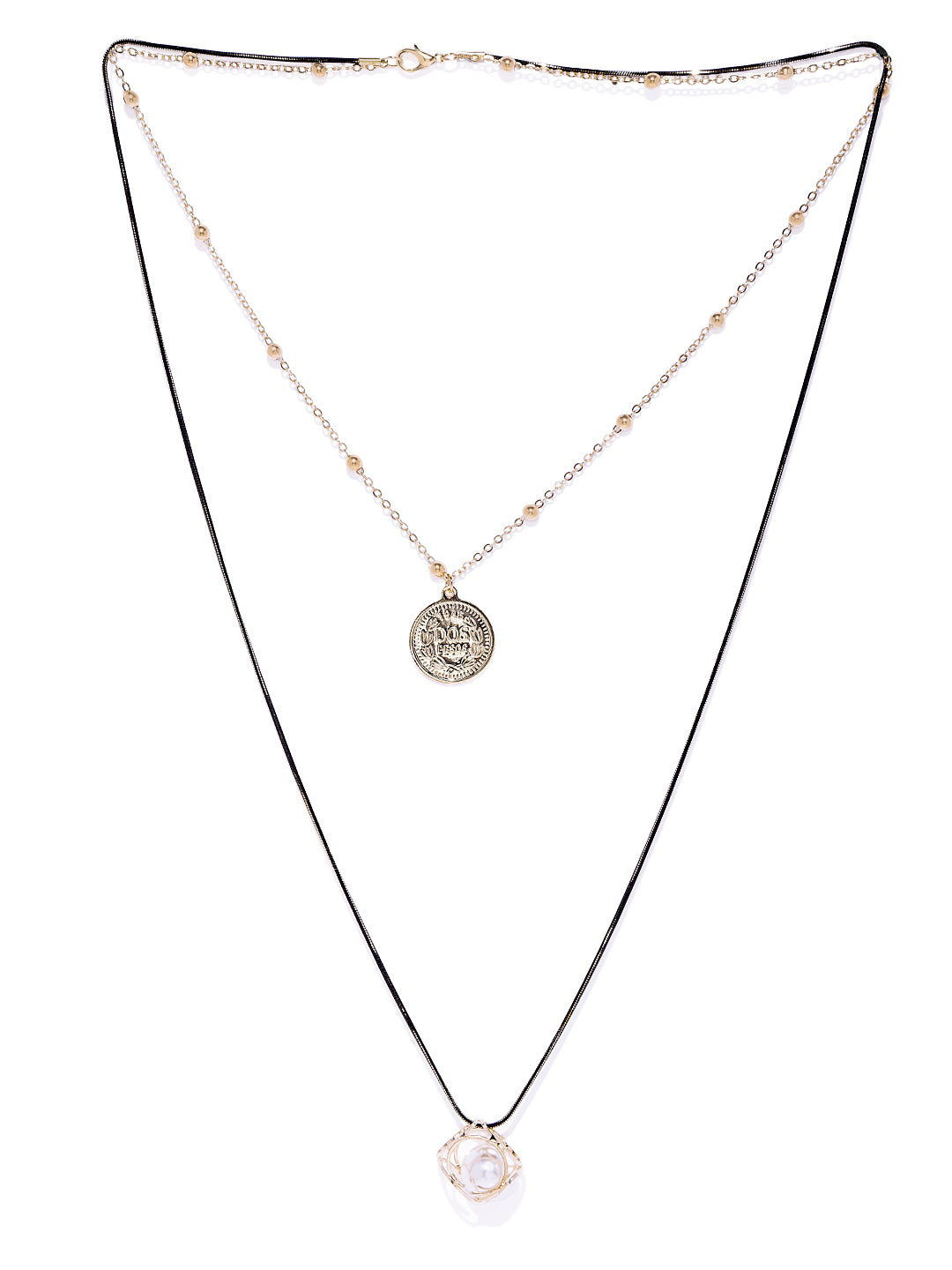 Roman Coin and Pearl Layered Necklace - ChicMela