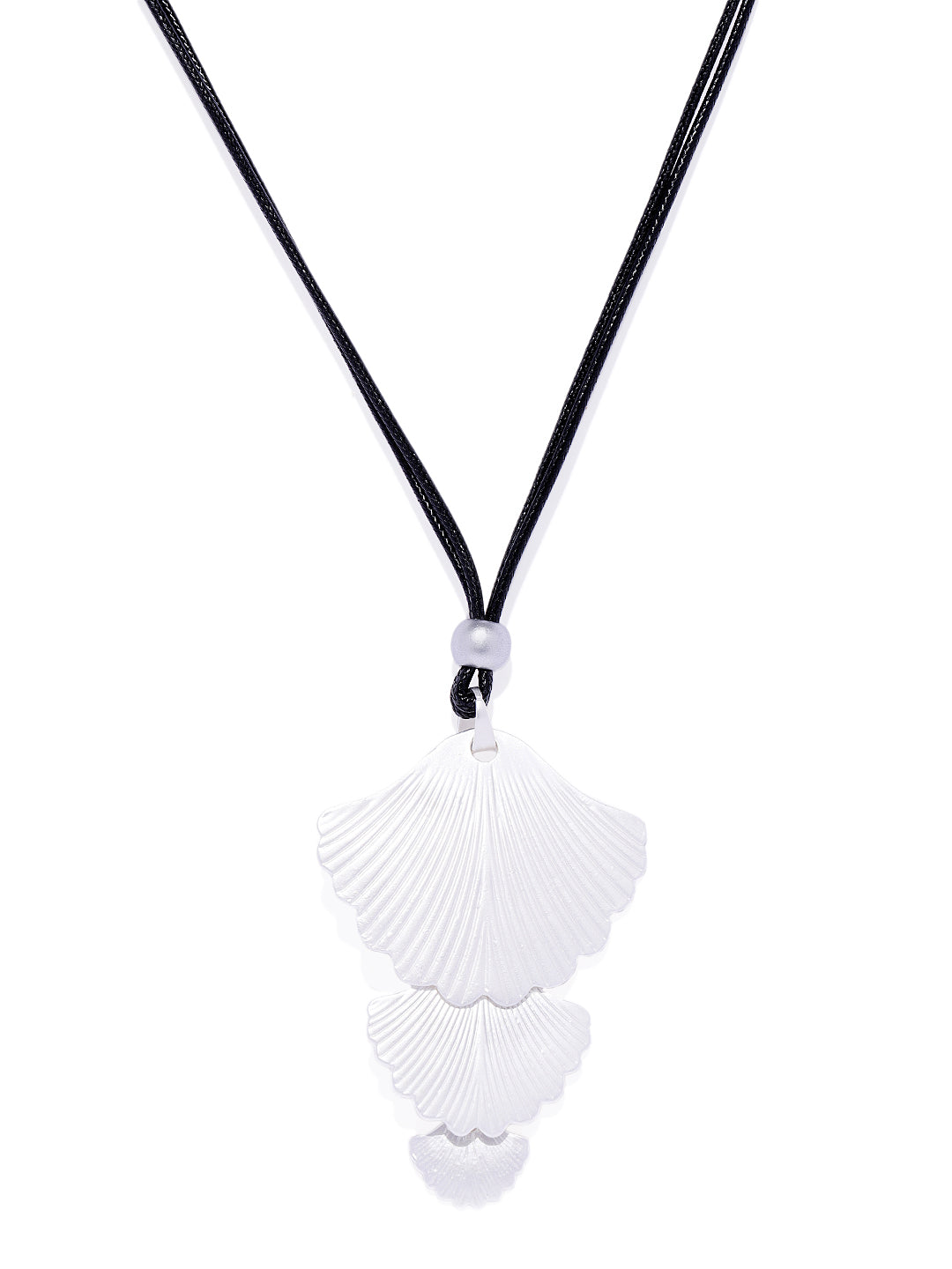 Matte Silver Multi Layered Shell Necklace