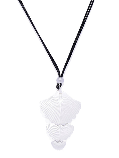 Matte Silver Multi Layered Shell Necklace - ChicMela
