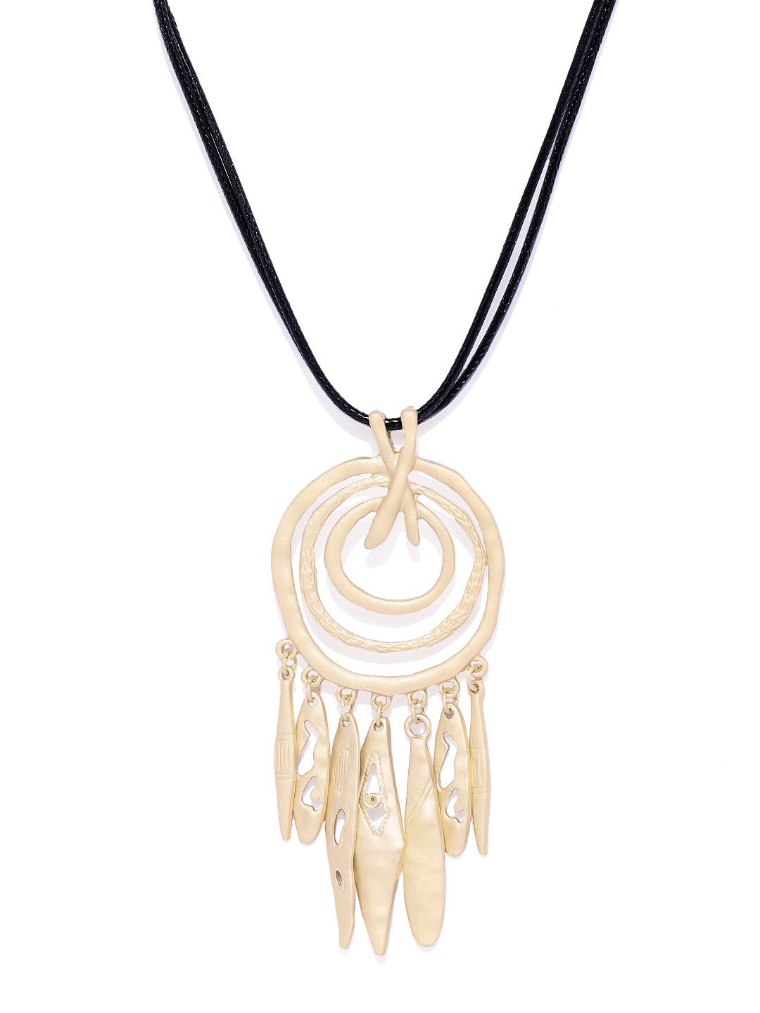 Dreamcatcher Matte Gold Necklace - ChicMela