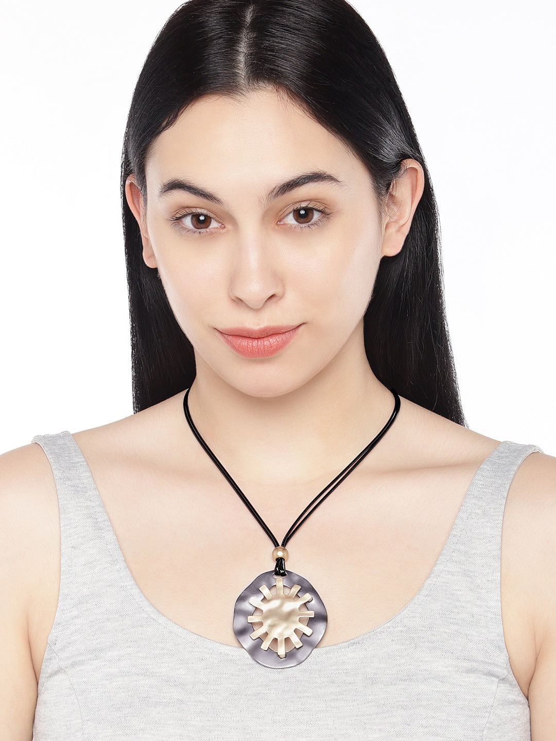 Sun Necklace in Black and Gold - ChicMela