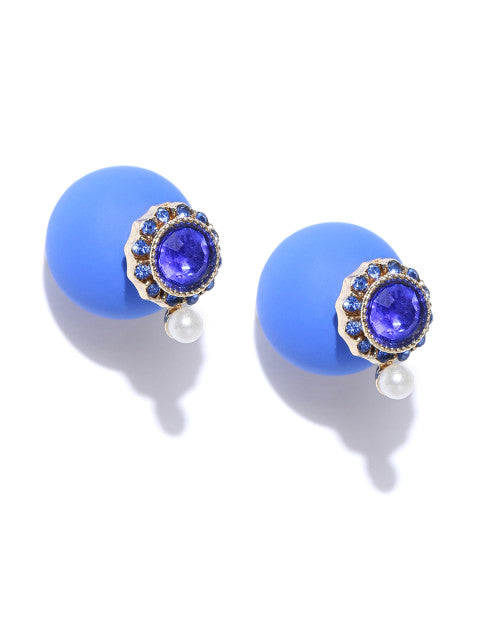 Double Sided Classic Studs- Navy Blue - ChicMela