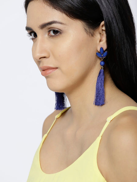 New York- Long Tassel Earrings- Navy blue - ChicMela