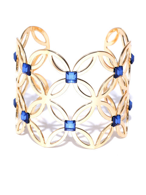 New York- Floral Motif 14k Gold Plated Cuff in Navy - ChicMela