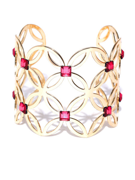 New York- Floral Motif 14k Gold Plated Cuff in Red