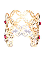 New York- Floral Motif 14k Gold Plated Cuff in Red - ChicMela