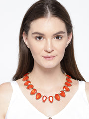 New York-Bold 18k Gold Plated Red Statement Necklace - ChicMela