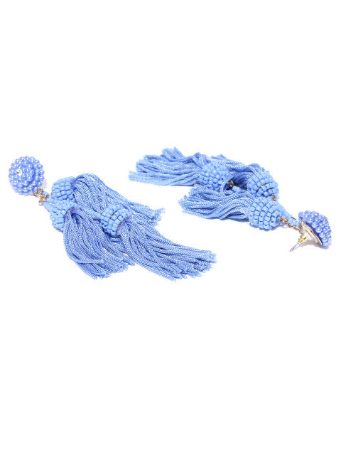 Three Layered Tassel Drops- Blue - ChicMela