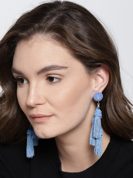 Kyra Blue Tassel Earrings
