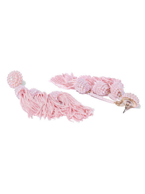Three Layered Tassel Drops- Pink - ChicMela