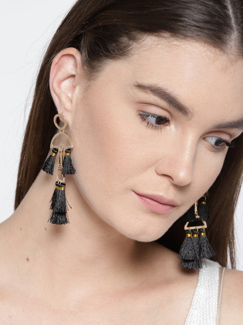 Quirky Black Tassel Earrings - ChicMela