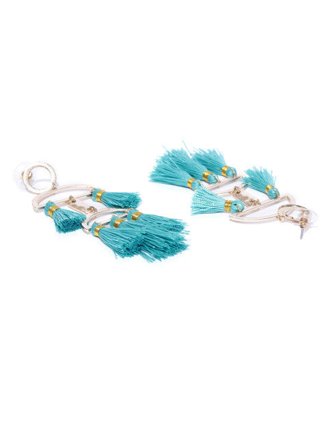 Quirky Sky Blue Tassel Earrings - ChicMela
