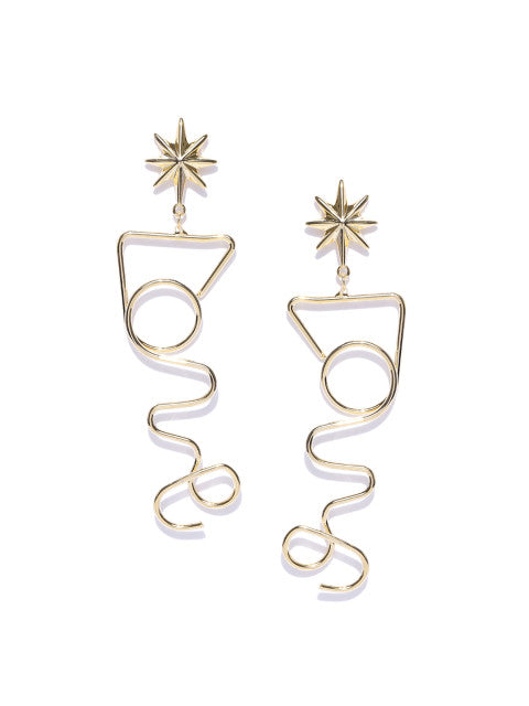 Quirky Geometry Gold Earrings - ChicMela