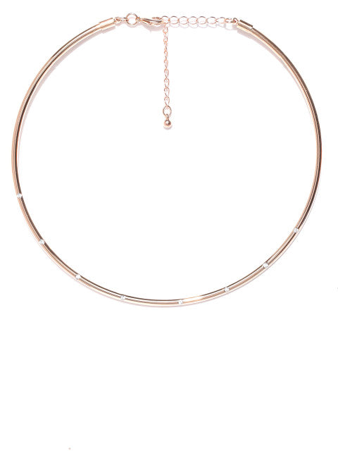 London-Haru Choker in 14k Rose Gold Plate - ChicMela
