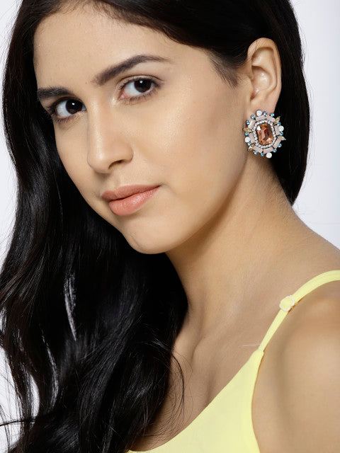 Semi-precious Luxe Earrings- Multicolour - ChicMela