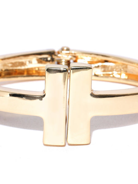 London- 18k Gold Plated Solid Cuff - ChicMela