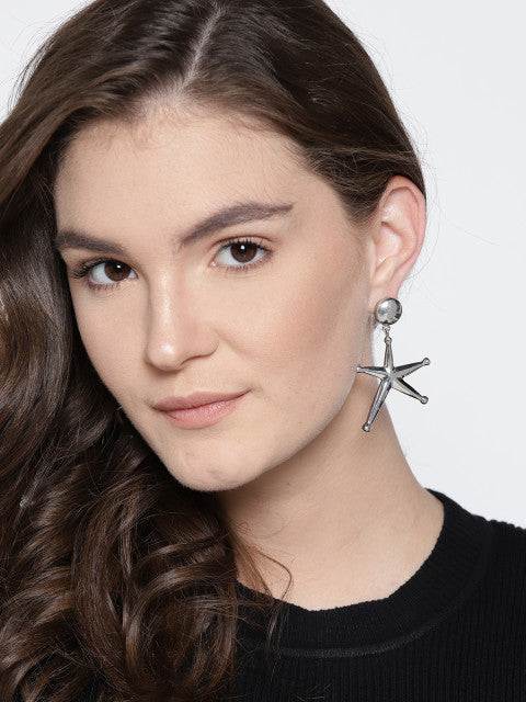 Celestial Silver Star Earrings - ChicMela