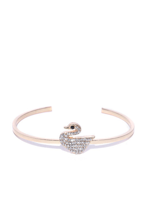 Swan Gold Plated Slip On Cuff - ChicMela