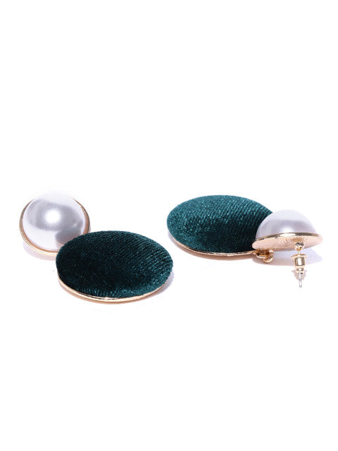 Velvet and Pearl Green Drop Earrings - ChicMela