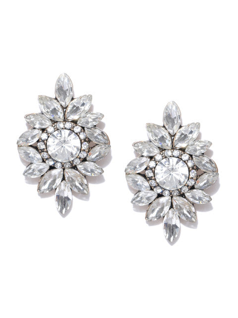 White Crystal Statement Studs - ChicMela