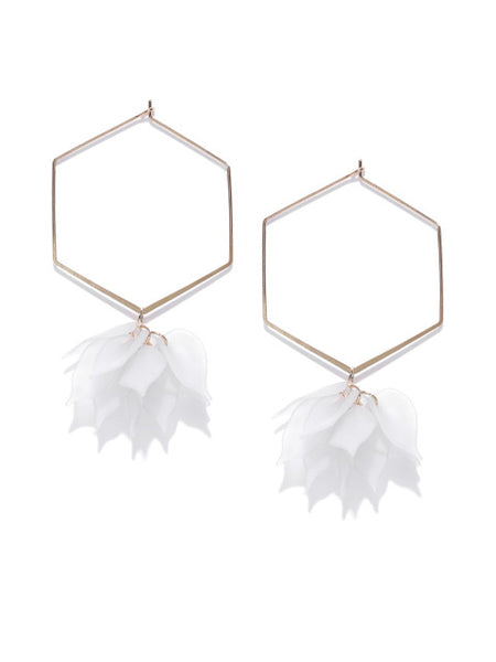 Hexagon Tropical Floral Hoops In White