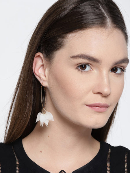 Hexagon Tropical Floral Hoops In White - ChicMela