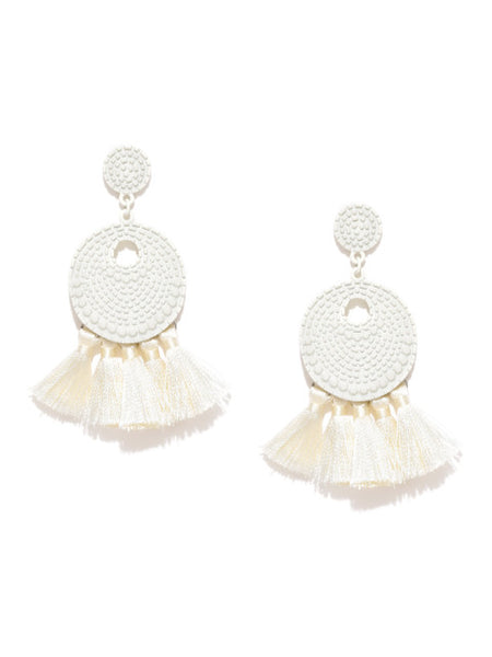 Arden White Tassel Earrings