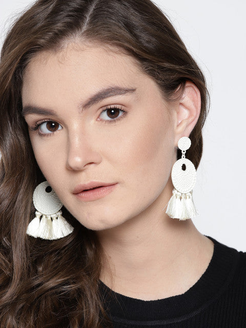 Arden White Tassel Earrings - ChicMela