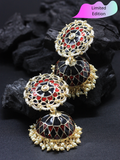 Limited Edition- Black & Red Meenakari Jhumka - ChicMela