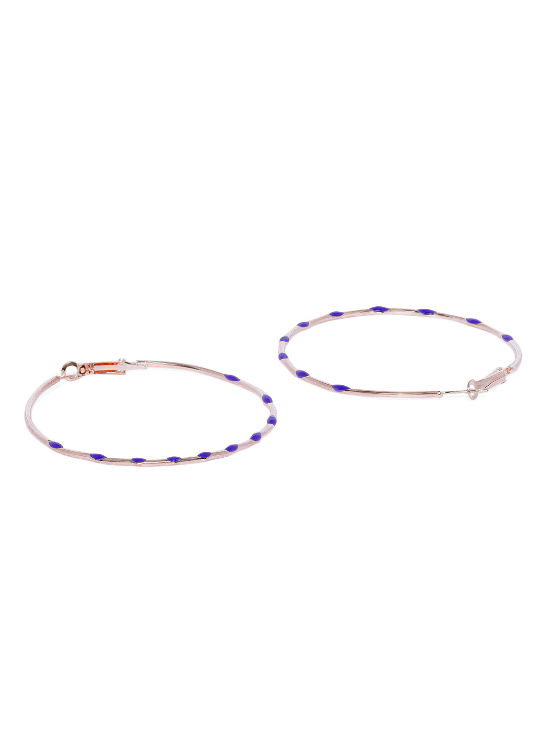 Blue Dotted Circular Hoops - ChicMela